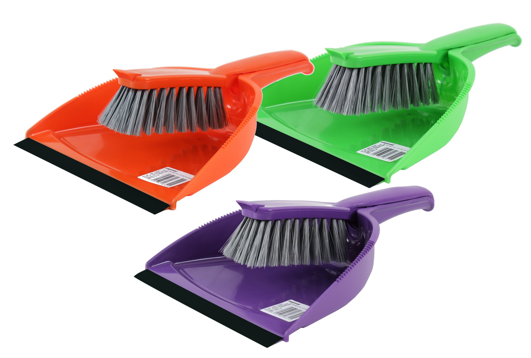 Dustpan with<br> rubber lip,<br>assorted colors,