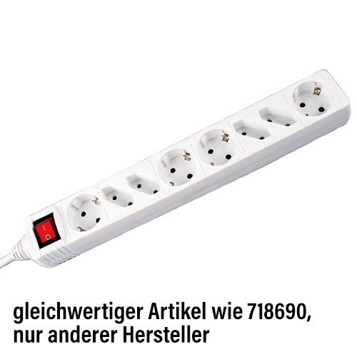 Steckerleiste 8er<br> mit Schalter,<br>Weiß, Kabel: 1,5m,