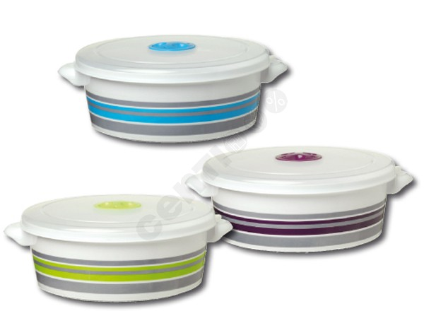 Microwave bowl<br> with stripes, 2<br>liters