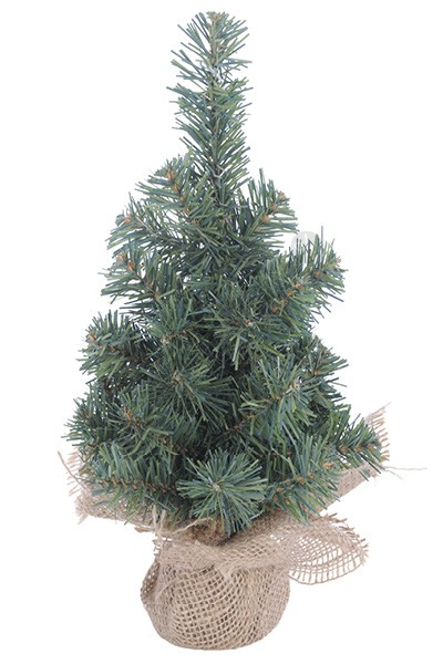 Green Christmas<br> Tree in Burlap<br>Sack, height 20 cm