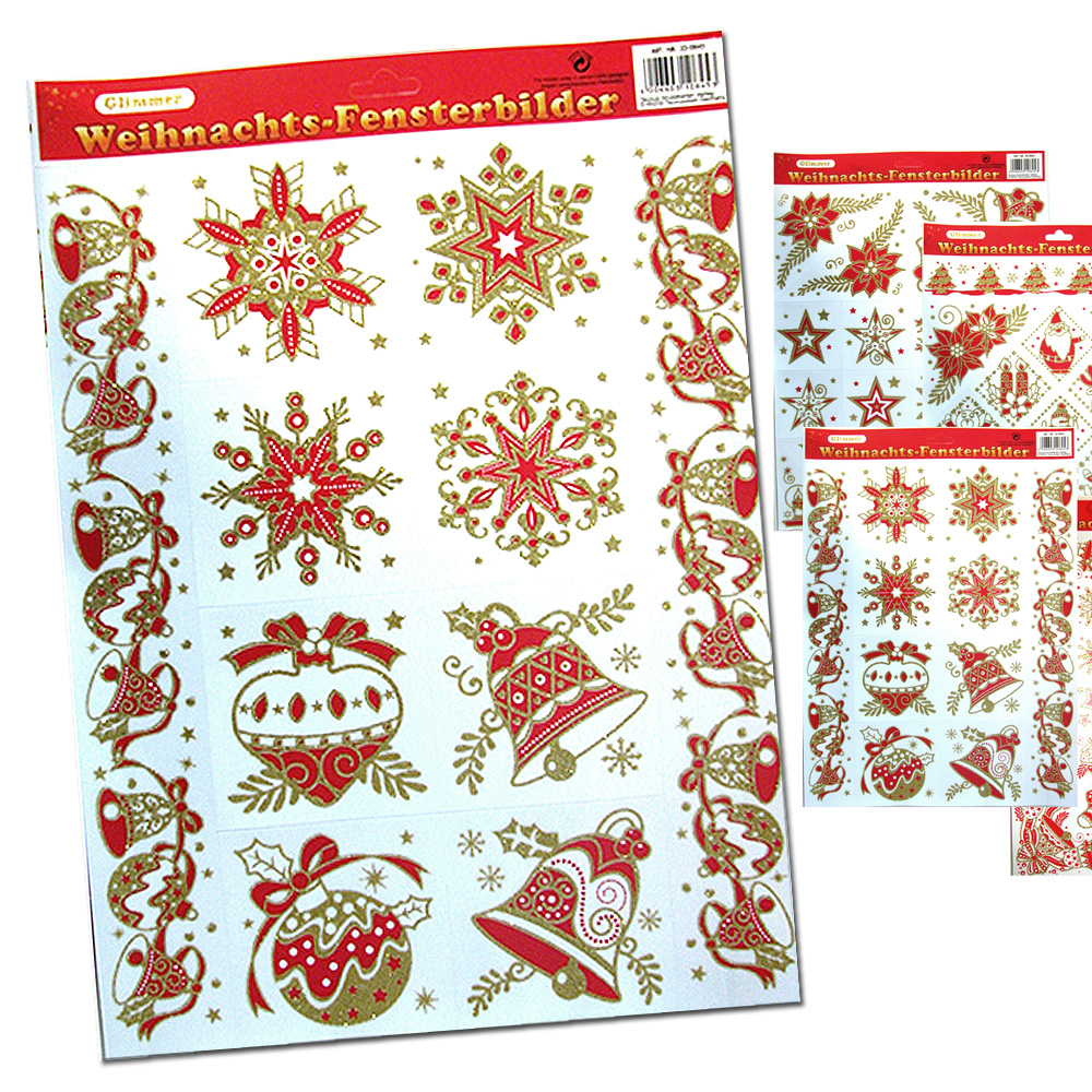 Sticker / window<br> image Christmas<br>Red / Gold