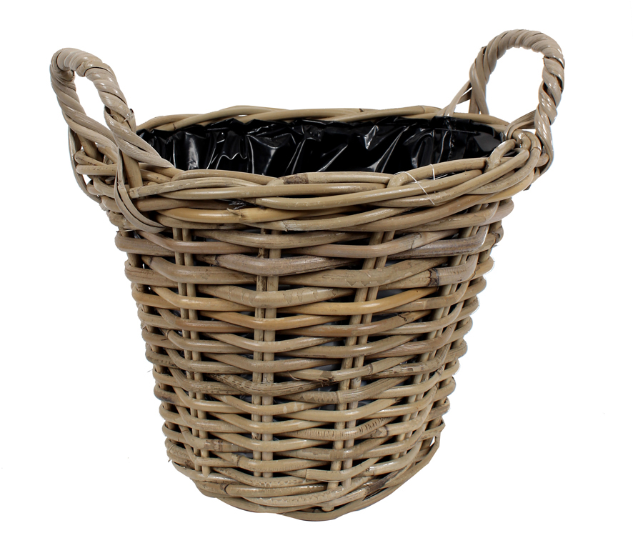 Plant basket from<br> willow, d = 28 cm,<br>height = 23 c